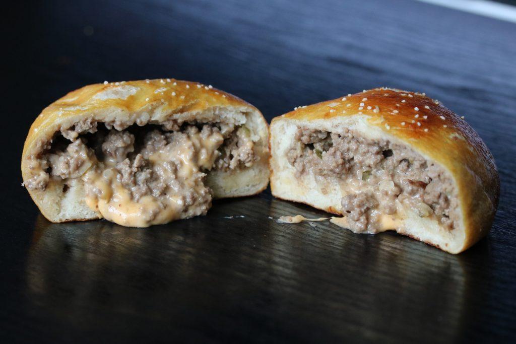 Cheeseburger Stuffed Pretzel Bun